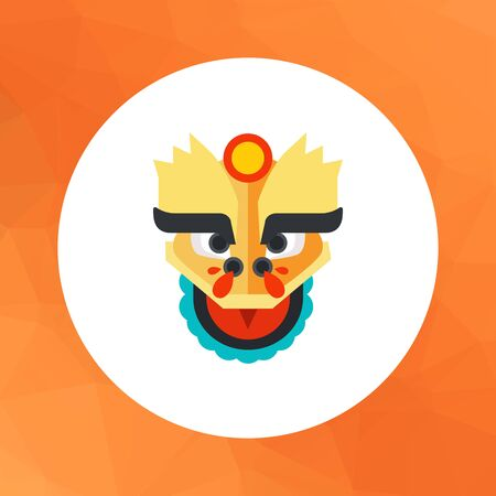 dragon head: Multicolored vector icon of oriental dragon head