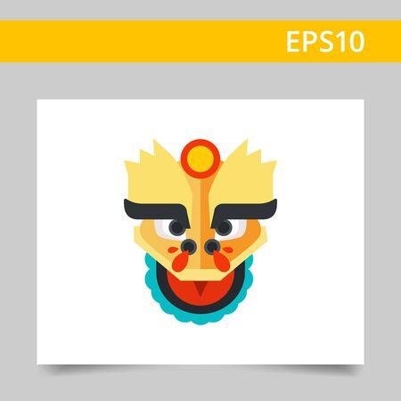 oriental dragon: Multicolored vector icon of oriental dragon head