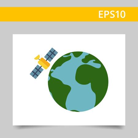 satellite: Multicolored vector icon of Earth globe and satellite
