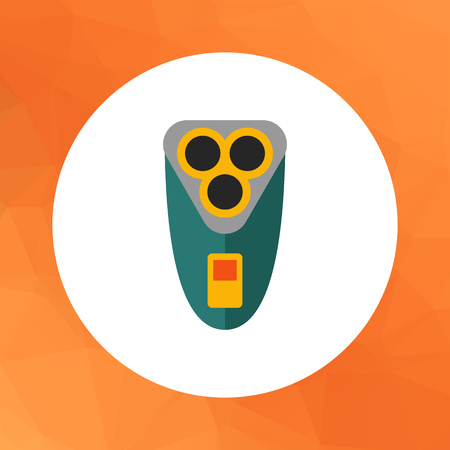 shaver: Multicolored vector icon of rotary electric shaver