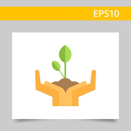 Icon of human hands holding green sprout