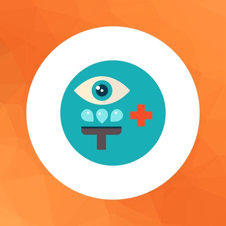 irrigation: Multicolored vector icon of stylized sign of medical eye irrigation