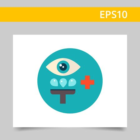 rinsing: Multicolored vector icon of stylized sign of medical eye irrigation