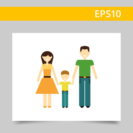 family with one child: Icon of traditional family consisting of man, woman and one child