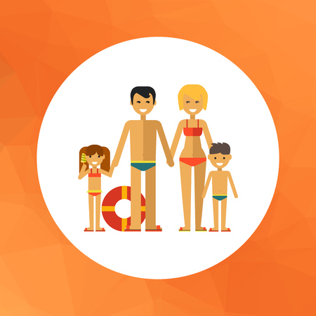 boy long hair: Multicolored vector icon of family consisting of man, woman and two children on beach