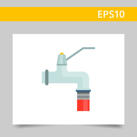 sprinkling: Icon of faucet and attached garden hose Illustration