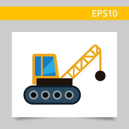 ball chains: Multicolored vector icon of crane with wrecking ball