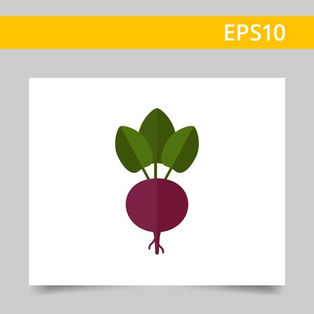 carbohydrate: Vector icon of fresh beetroot with leaves Illustration