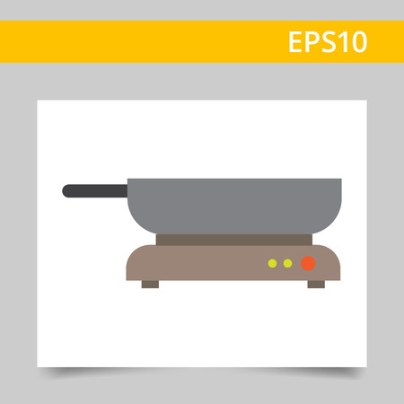 sizzling: Icon of frying pan standing on hotplate Illustration