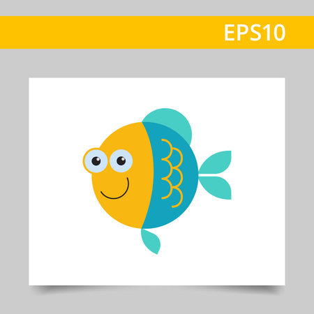 gills: Vector icon of cute smiling cartoon fish