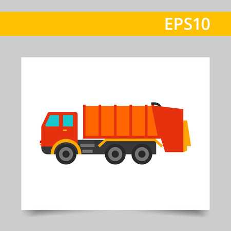 removing: Multicolored vector icon of garbage dumping truck