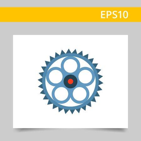 Multicolored vector icon of metal gear wheel Illustration