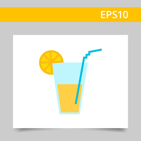 colorful straw: Icon of glass with drink, straw and citrus slice