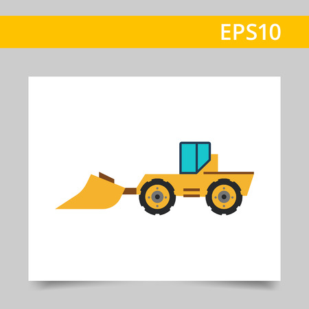 Multicolored vector icon of industrial bulldozer with scoop and caterpillar wheels