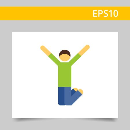 t shirt blue: Multicolored vector icon of excited man jumping with his hands up Illustration