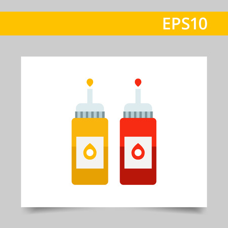 dispenser: Vector icon of ketchup and mustard bottles with dispenser