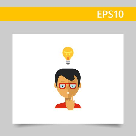 afflatus: Multicolored vector icon of boy wearing glasses and having idea represented by glowing lightbulb