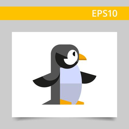 beine spreizen: Bunte Vektor-Symbol des Pinguins, der Seitenansicht