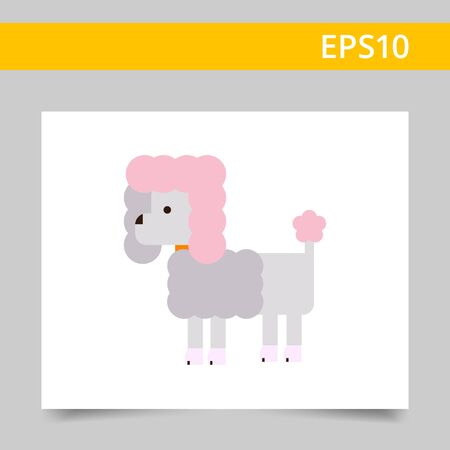 clipped: Multicolored vector icon of poodlewith dog collar Illustration