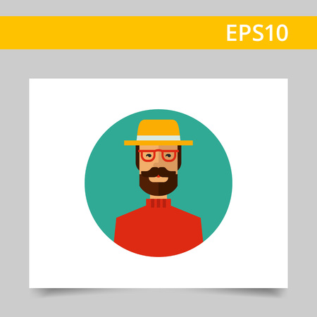 red beard: Multicolored vector icon of man with beard wearing glasses, yellow hat and red sweater Illustration
