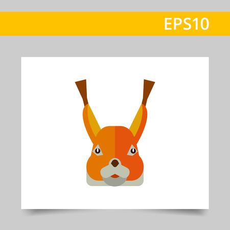 red squirrel: Multicolored vector icon of red squirrel head