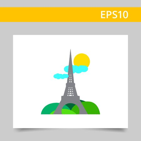 french culture: Icon of Eiffel tower sight with park, sun and clouds
