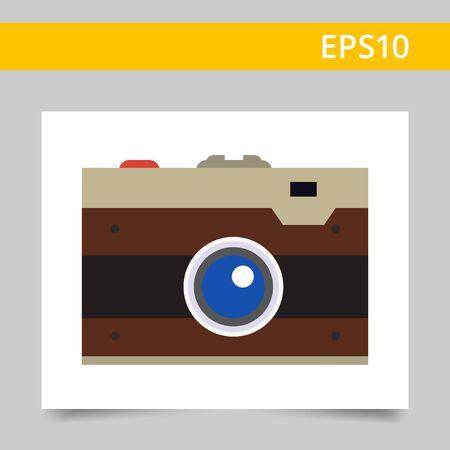 snapshot: Multicolored vector icon of retro snapshot camera