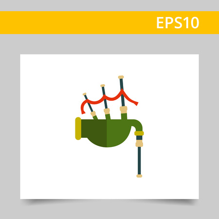 playing folk: Multicolored vector icon of traditional Scottish bagpipe