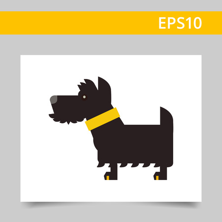 scottish terrier: Multicolored vector icon of black Scottish terrier dog with yellow dog collar Illustration