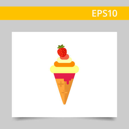 soft ice cream: Vector icon of soft ice cream with strawberry in waffle cone Illustration