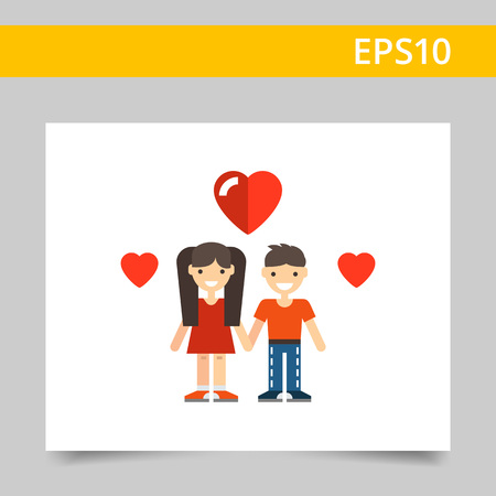 boy long hair: Multicolored vector icon of cartoon teenage girl and boy with heart pictures Illustration