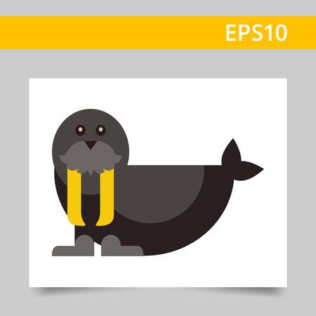 mustaches: Multicolored vector icon of black cute walrus