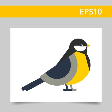 chickadee: Multicolored vector icon of titmouse, side view Illustration