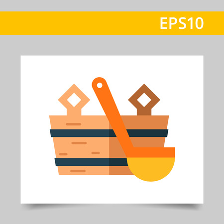cleanliness: Multicolored vector icon of wooden bucket and water scoop