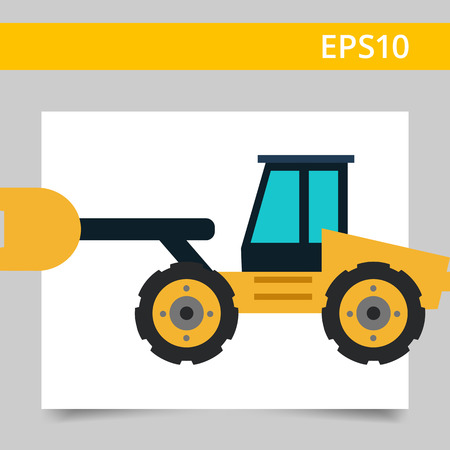 movers: Multicolored vector icon of yellow industrial bulldozer Illustration