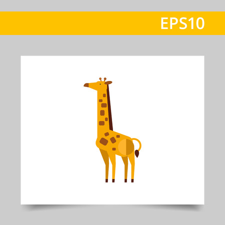 spotted: Multicolored vector icon of standing spotted giraffe