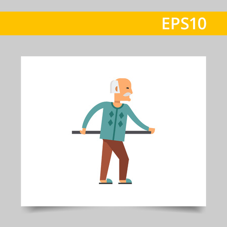 helpless: Multicolored vector icon of old man holding handrail