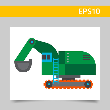 excavate: Multicolored vector icon of green industrial excavator
