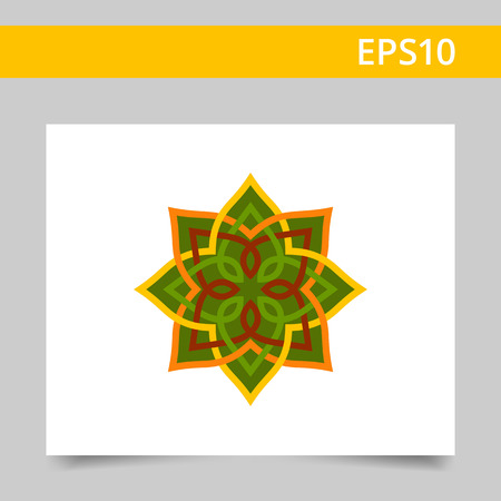 logo element: Multicolored vector icon of green oriental mandala
