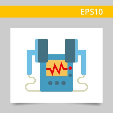 defibrillator: Multicolored vector icon of medical heart defibrillator