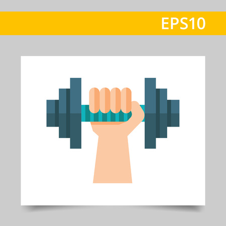 hand with dumbbell: Vector icon of human hand with iron dumbbell
