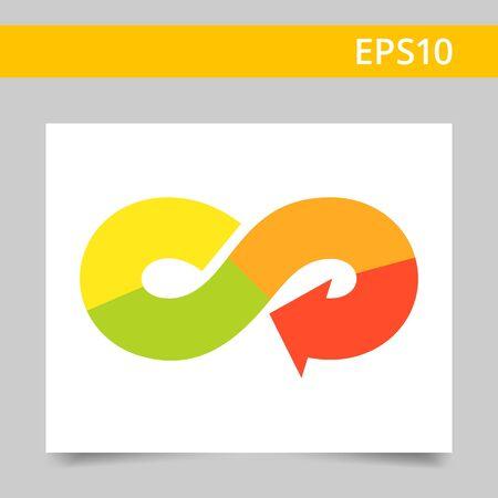 signo de infinito: Icono del vector de la flecha en forma de s�mbolo de infinito multicolor
