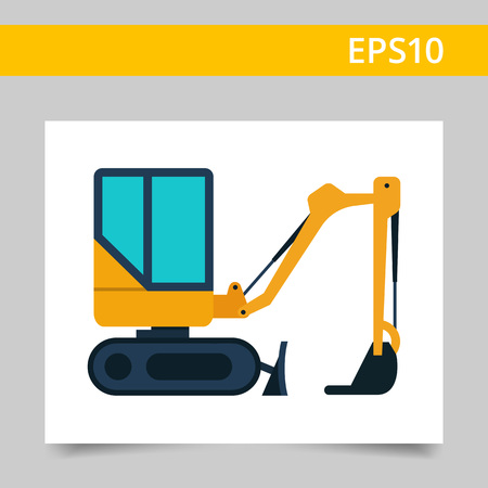 excavate: Multicolored vector icon of yellow industrial excavator