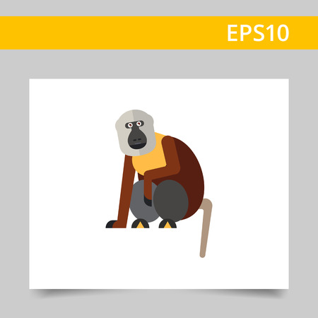 Multicolored vector icon of sitting macaque monkey