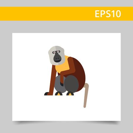 macaque: Multicolored vector icon of sitting macaque monkey