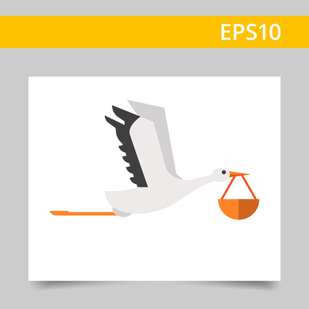 stork flying with bundle: Vector icon of flying stork carrying bundle in its beak