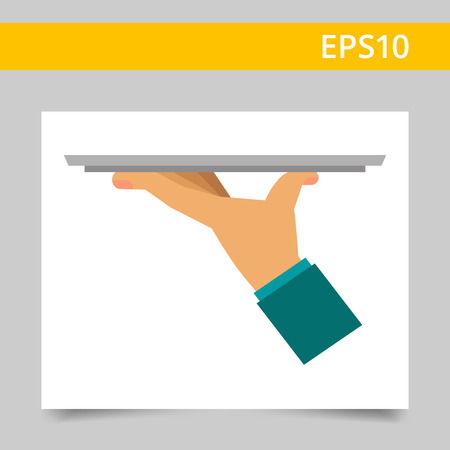 Multicolored vector icon of waiter hand holding empty tray