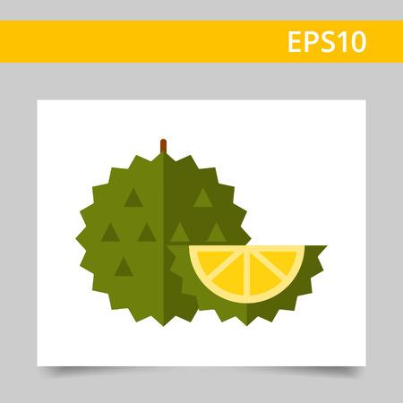 Durian: biểu tượng vector, đa màu của toàn bộ trái cây kỳ lạ sầu riêng và cắt mảnh
