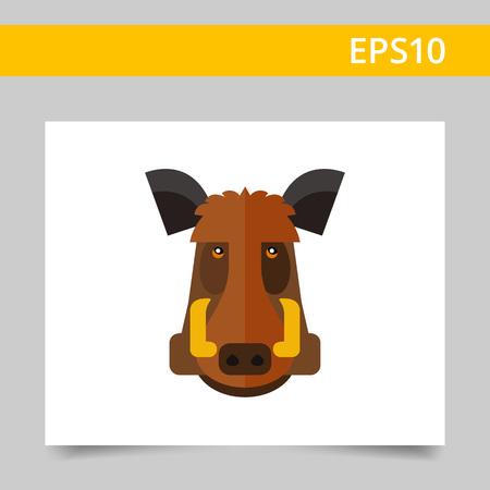 omnivorous: Multicolored vector icon of wild boar head