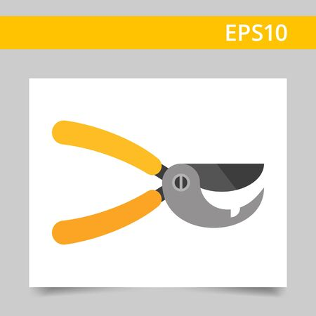 secateurs: Multicolored vector icon of secateurs with yellow handles